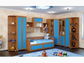 ДЕТСКАЯ ПИЛОТ ЛДСП. ГАБАРИТЫ: 4,05/2,12х2,05м ЦВЕТ: корпус: ольха, фасад: синий+широкий штапик