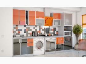 КУХНЯ ПЛАСТИК. ГАБАРИТЫ: 3,65х0,60х2,15м. ЦВЕТ: корпус: серый, фасад: чёрный, оранжевый