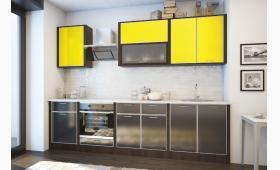 КУХНЯ: 2,7 м. фасад:пластик черный/желтый в алюминиевом профиле. корпус: венге. Верх:В.008.1;В.007.2.Низ:Н.008.2;Н.013.1;Н.007.2