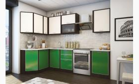 КУХНЯ: 1,4х2,6 м. фасад:пластиковый ваниль/зеленый в алюминиевом профиле. корпус:венге. Верх:В.013.1;В.002.1;В003.3;В.008.1.Низ:Н.013.1;Н.008.1;Н.004.4;Н.008.1